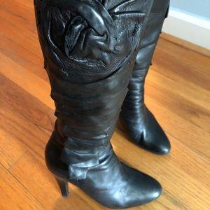 Valentino black platform boots with flower detail